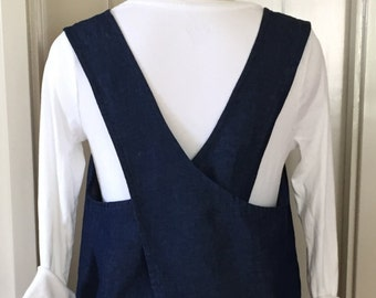 Indigo Linen/Cotton Denim, Curved Cross Back, Apron, Pinafore, Smock, Japanese Apron, Layering Wardrobe Piece, Large/Extra-Large