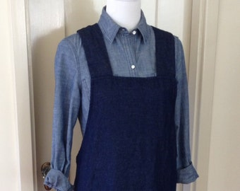 """Luxe Linen/Cotton Denim, Smock, Apron or Pinafore, """"Bib Top"""" Cross Back Style"""