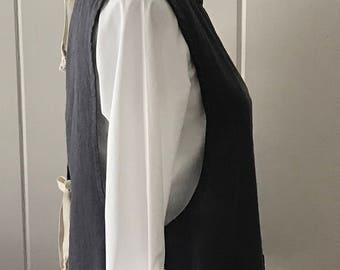 Washed Linen, Simple Smock, Apron, Great for cook, artist, teacher, etc., Iron Color