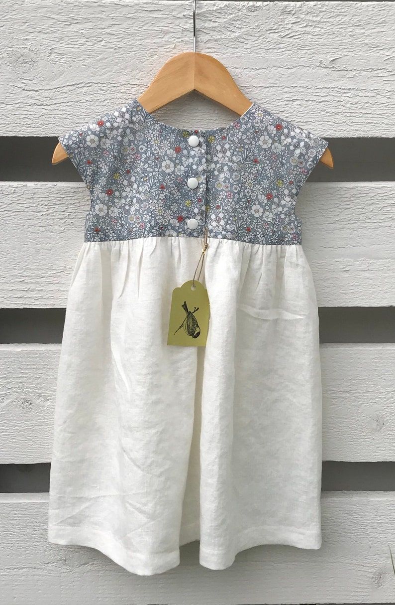 One-of-a-kind Baby Liberty and Linen Toddler Dress Size 18-24m Ready to Ship