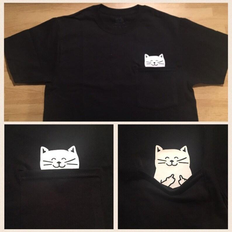 43ba1256b Cat Middle Finger Pocket T Shirt | Etsy