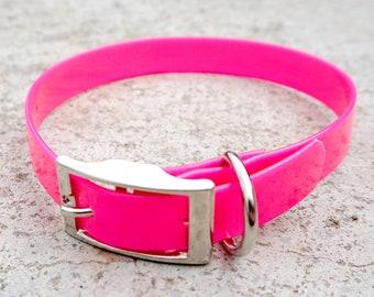 Fluorescent Pink Biothane Buckle Dog Collar