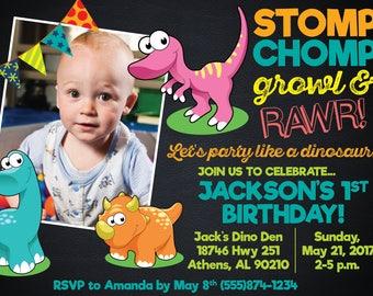 Baby Dinosaur Birthday Invitation