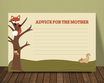 Woodland Baby Shower Advice for the Mother Card, Lambs and Ivy Echo theme
