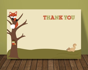 Woodland Thank You Card, Lambs and Ivy Echo theme, Woodland Baby Shower Thank You Cards