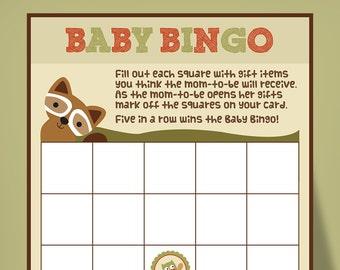 Woodland Baby Bingo, printable baby shower games, Lambs and Ivy Echo theme