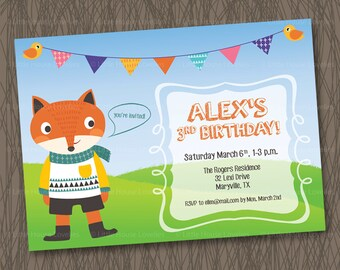 Fox Birthday Party Invitation for baby, toddler, preschool, kid