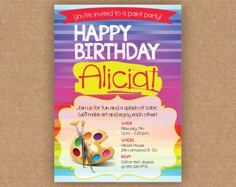 Birthday Paint Party Invitation