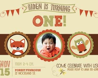 Woodland Birthday Invitation, Lambs and Ivy Echo, 1st Birthday Invitation, Gender Neutral Birthday Invite