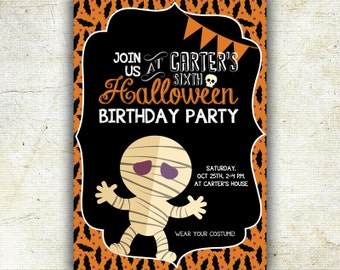 Halloween Birthday Invitation, Costume Party Invitation, Printable Halloween, Chalkboard style