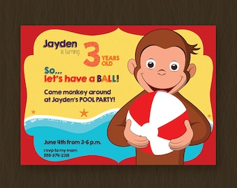 Curious George Invitation, Curious George Pool Party, Curious George Birthday