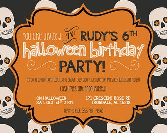 Halloween Birthday Invitation, Costume Party Invitation, Printable Halloween, Chalkboard Style, Skulls, Skeletons