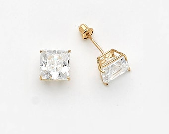14k Solid White or Yellow Gold Cubic Square Stud Baby Girls Children Screwback Earrings