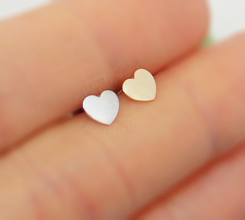 ea6953d7b Plain Heart Screwback Earrings 14k Solid Yellow Or White   Etsy