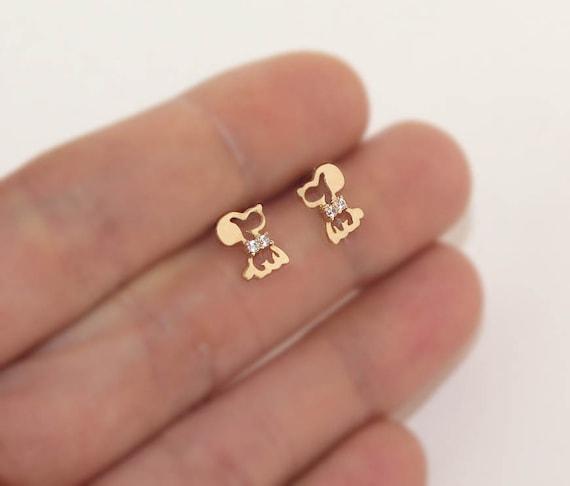 14k Yellow Gold 4mm Birth Month Princess Cut Children Screwback Baby Girls Earrings