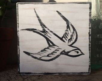 Swallow - handmade self-standing wooden picture