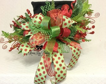 Lime Green Christmas Tree Topper, Snowman Hat, Red Christmas, Green Bow, Red Bow, Christmas Decor, Christmas Bow, Christmas Wreath