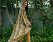 Leopard print Floor Length Robe, long sleeve kimono festival hoodie, burner rave jacket, boho vegan animal print coat poncho by Love Khaos