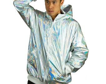 88b65dc85ff1f Waterproof Holographic gold silver Windbreaker by Love Khaos