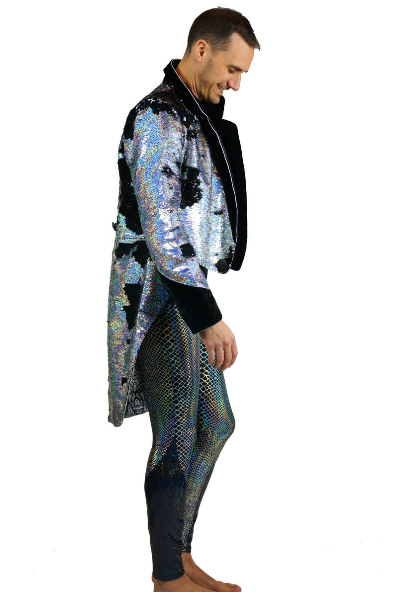 eb5f7a79b6f Mens Sequin jacket Tail Coat costume Festival Halloween