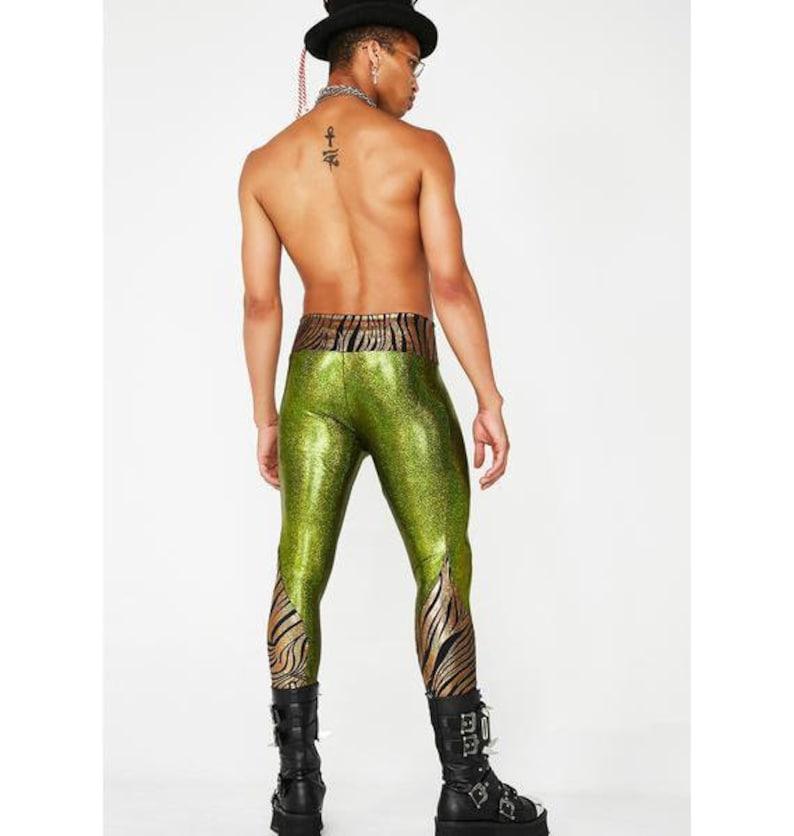 874f35a4c5cbc3 Mens Leggings Meggings Holographic green purple festival | Etsy