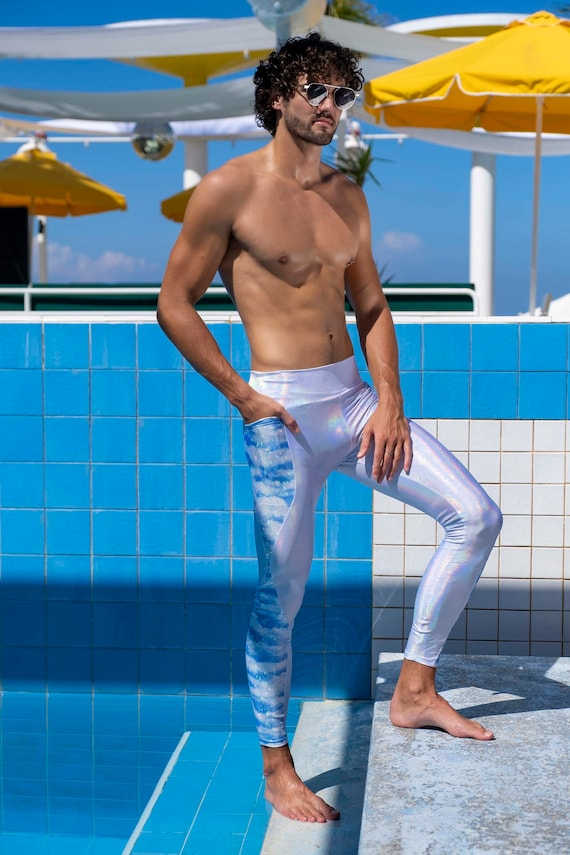 Holographic Silver tights reflective rave outfit festival leggings burning man pants by Love Khaos mens Leggings with pockets Meggings