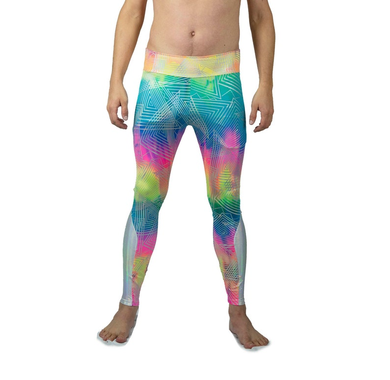 c8d5ad4c0bd Holographic Neon Mens Leggings Meggings spandex tights