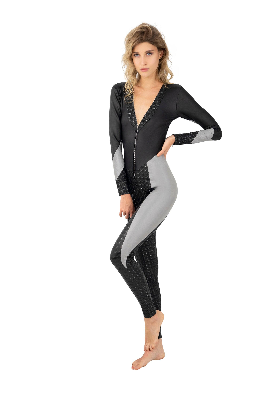 Latex bodysuit Zentai leotard Reflective fabric Catsuit for women Long sleeve leotard Black bodysuit Festival bodysuit by Love Khaos