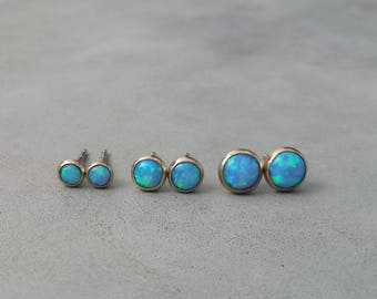 242bb63c7 Solid gold opal stud earrings,14k solid gold blue opal earrings,yellow gold  tiny opal stud earrings,small gold opal earrings,3mm, 4mm, 5 mm