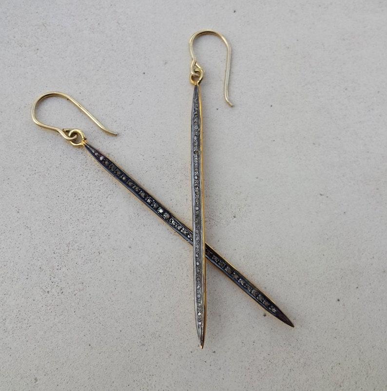 Long diamond bar earrings,gold and silver rough diamond bar earrings,raw grey diamond dangle earrings diamond bar earring,unique earrings