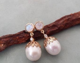 Pearl earrings,gold pearl earrings ,fresh water pearls with moonstones made of vermeil,yellow gold pearl earrings,bridal pearl earrings