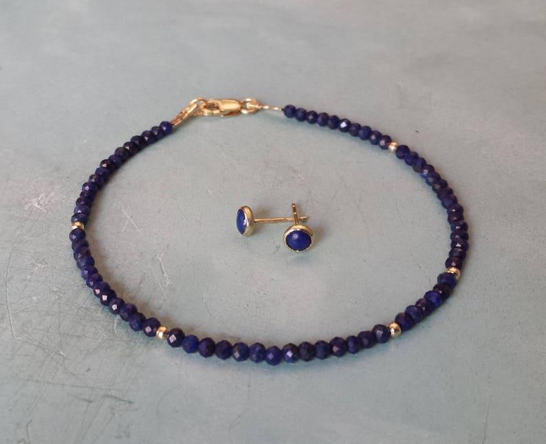 Lapis lazuli bracelet and earrings set,14k solid yellow gold lapis stud and bracelet,tiny lapis beaded bracelet,wife christmas gift for her