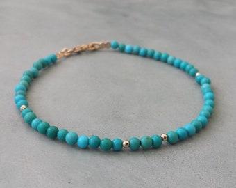 14k gold turquoise bracelet,genuine turquoise beaded bracelet,14k solid gold turquoise stacking bracelet,natural turquoise bracelet