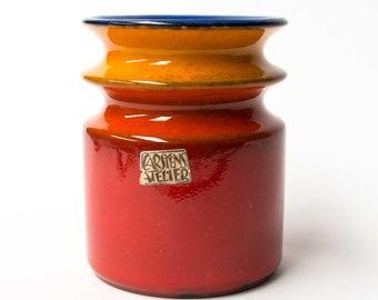"Retro Vase, West German Carstens ""Peking"" Design  Red, Orange, Blue - 1970s"