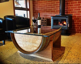 Oak wine barrel wood coffee table with tempered glass top made in Australia, great for lounge, games room, cafe, venue, restaurant, office.