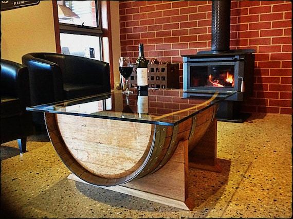 Oak Wine Barrel Wood Coffee Table With Tempered Glass Top Made Etsy