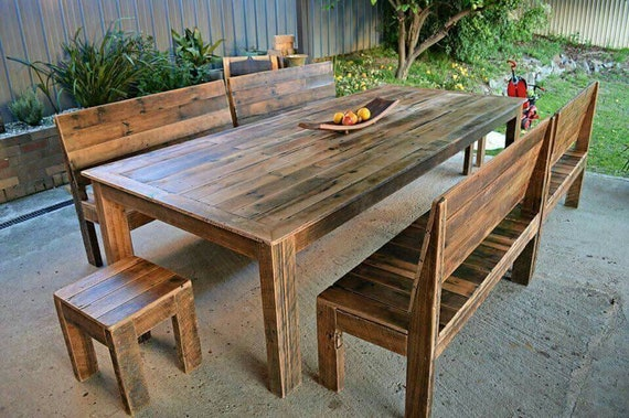 Tremendous 3 Metre Recycled Timber Dining Table And Optional Bench Seats Indoor Our Outdoor Rustic Reclaimed Timber Australian Made Onthecornerstone Fun Painted Chair Ideas Images Onthecornerstoneorg