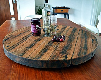 Recycled / upcycled hardwood timber rustic lazy susan finished in food safe beeswax / great as table centerpiece, made to order in any size