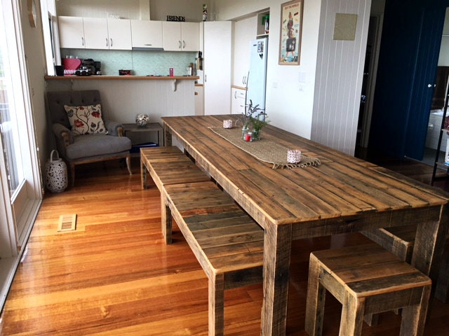 3 Metre Recycled Timber Dining Table, Outdoor Timber Dining Table With Bench Seats