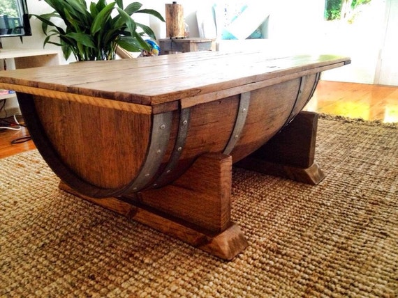 Wine Barrel Coffee Table With Recycled Timber Top That Opens Etsy