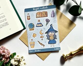 Night Star Moon Magical Witch Sticker Sheet Matte - Planner and Bullet Journal Stickers Kiss Cut