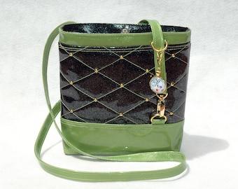 Vegan Handbag Black Handbag Gift for her Crossbody Bag Glitter Bag Vinyl Bag Green Bag Green handbag Vegan Bag Faux Leather Handbag Kids Bag