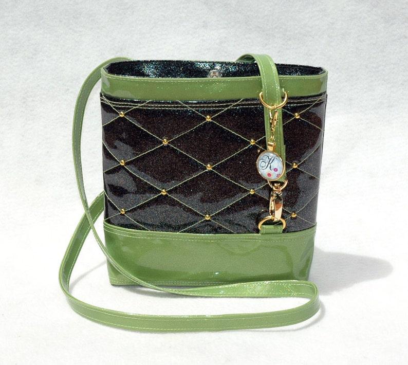 Vegan Handbag Black Handbag Gift for her Crossbody Bag Glitter image 0