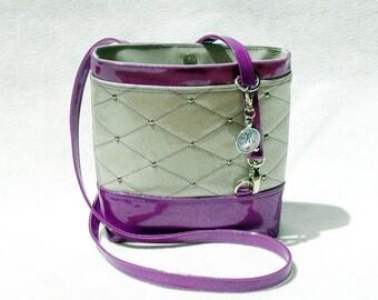 Vegan Handbag Gift For Her Purple Crossbody Bag Glitter Bag Vinyl Bag Purple handbag White handbag Vegan Bag Faux Leather handbag