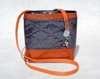 Vegan Handbag Black Bag Orange Bag Gift For her Crossbody Bag Glitter Bag Vinyl Bag Orange Handbag Vegan Bag Faux Leather Bag Black Handbag