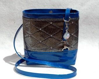 Vegan Handbag Gift for her Glitter Bag Crossbody Bag Vinyl handbag Black Bag Blue Handbag Vegan Bag Faux Leather handbag Blue Bag