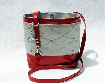 Ready To Ship White & Red Glitter Vinyl Crossbody Bag Glitter Bag Vinyl Bag So Kwaint Red Bag White Bag Vegan Bag Faux Leather handbag