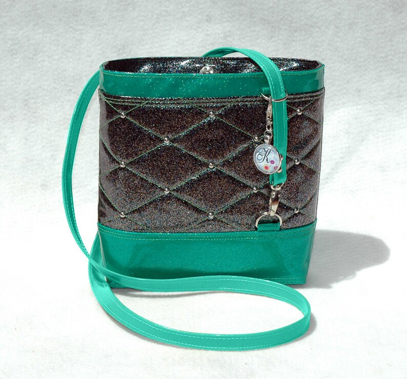 Vegan Handbag Gift For Her Green Bag Glitter Bag Vinyl Bag image 0