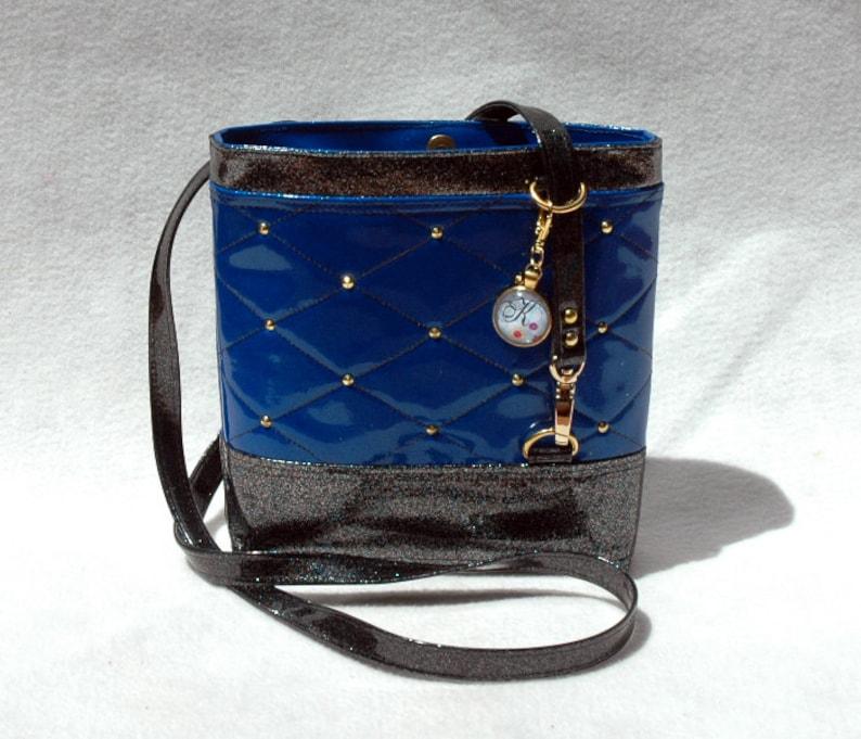 Vegan Handbag Blue Bag Gift For her Crossbody Bag Vinyl image 0