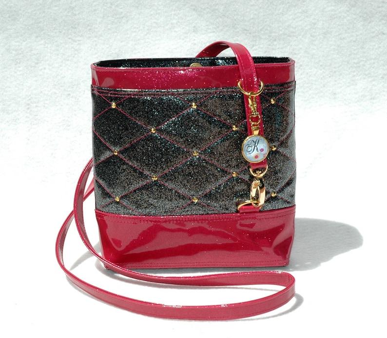 Vegan Handbag Fuchsia Bag Gift For her Crossbody Bag Glitter image 0